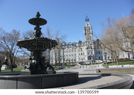 National Assembly of Quebec and Fountain of Turny in a beautiful sunny day