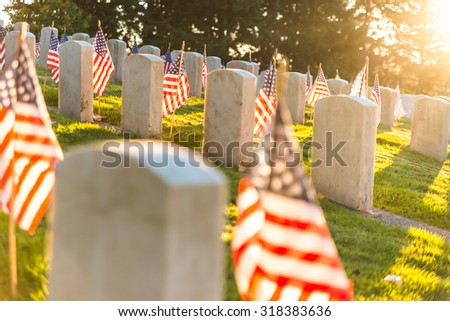 National Cemetery with a flag on  Memorial day in Washington,Usa.