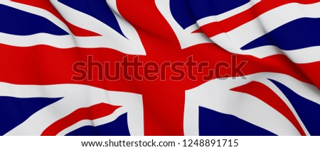 National Fabric Wave Closeup Flag of United Kingdom. 3d rendering illustration. Foto stock ©