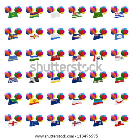 National flag balloon on the wind. Mulberry paper on white background. (Balloon set)