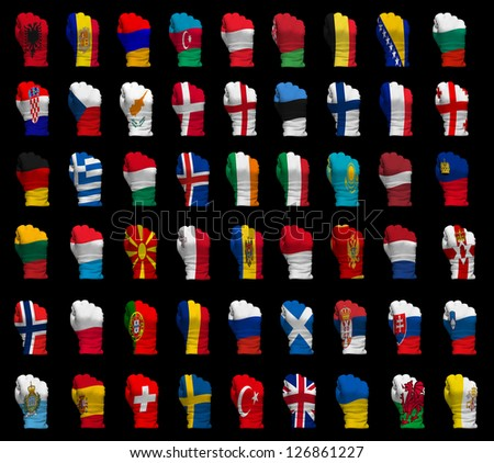 National flag fists of all Europe countries on a black background