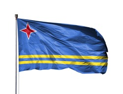 National flag of Aruba on a flagpole, isolated on white background