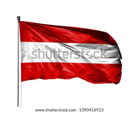 National flag of Austria on a flagpole, isolated on white background #1090416923