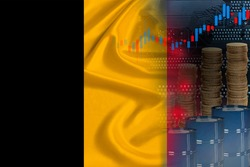 national flag of Belgium on silk, barrels of oil, metal coins, oil futures trading concept, growth of DBO index on stock exchange, global world trade, falling and rises oil prices