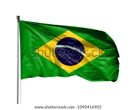 National flag of Brazil on a flagpole, isolated on white background #1090416902