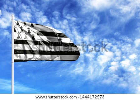 National flag of Brittany on a flagpole in front of blue sky #1444172573