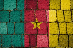 National flag of Cameroon on stone  wall background. Flag  banner on  stone texture background.