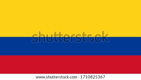 National flag of Colombia. Colombian original flag. Official colors. Proper proportions. Full size.  Stockfoto ©