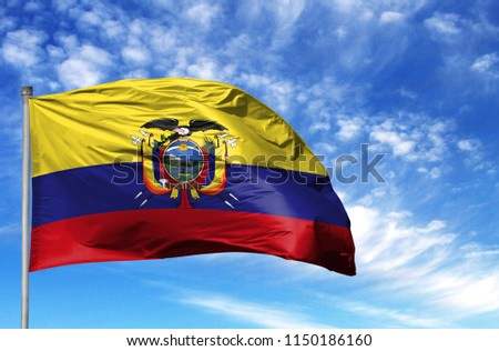 National flag of Ecuador on a flagpole