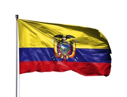 National flag of Ecuador on a flagpole, isolated on white background