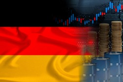 national flag of Germany on silk, barrels of oil, metal coins, oil futures trading concept, growth of DBO index on stock exchange, global world trade, falling and rises oil prices