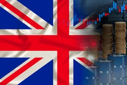 national flag of Great Britain on silk, barrels of oil, metal coins, oil futures trading concept, growth of DBO index on stock exchange, global world trade, falling and rises oil prices
