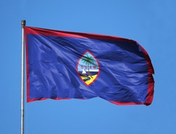 National flag of Guam on a flagpole