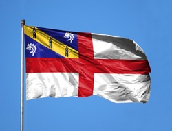 National flag of Herm on a flagpole