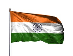 National flag of India on a flagpole, isolated on white background