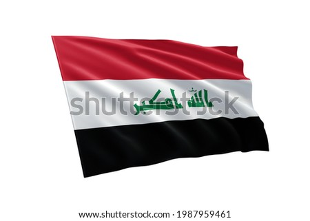 National flag of Iraq isolated on white background. Iraq flag illustration with clipping path. flag symbols of Iraq.