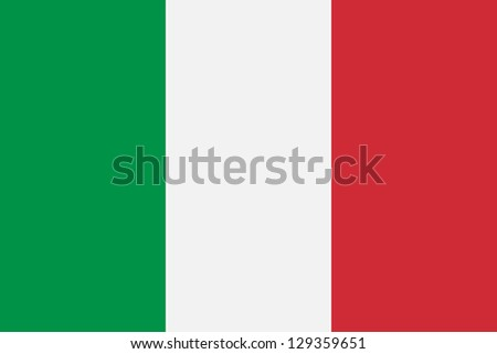 National flag of Italian Republic. Proper design, proportion (2:3) and colors. Adopted 1 January 1948.