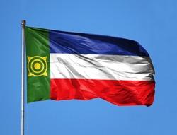 National flag of Khakassia on a flagpole