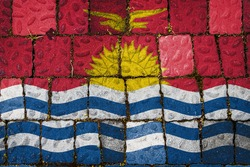 National flag of Kiribati on stone  wall background. Flag  banner on  stone texture background.