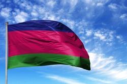 National flag of Kuban peoples republic on a flagpole