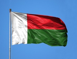 National flag of Madagascar on a flagpole