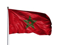 National flag of Morocco on a flagpole, isolated on white background