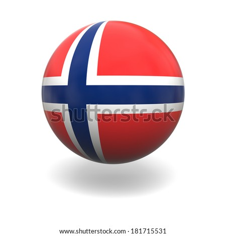 National flag of Norway on sphere isolated on white background
