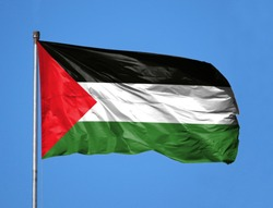 National flag of Palestine on a flagpole