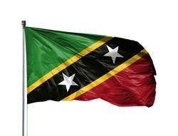 National flag of Saint Kitts and Nevis on a flagpole, isolated on white background