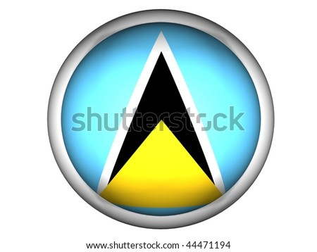 National Flag of Saint Lucia | Button Style | - stock photo