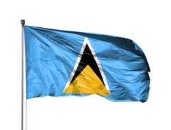 National flag of Saint Lucia on a flagpole, isolated on white background