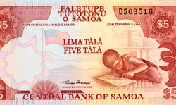 National Flag of Samoa. View of Samoan coastline from a distance. Child doing his homework. Portrait from Samoa 5 Tala 2005 Banknotes.