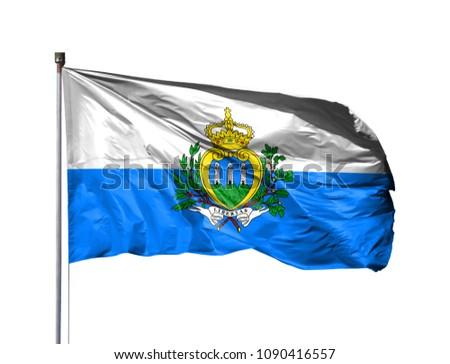 National flag of San marino on a flagpole, isolated on white background #1090416557