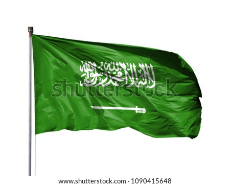 National flag of Saudi Arabia on a flagpole, isolated on white background #1090415648