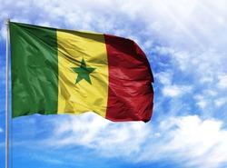 National flag of Senegal on a flagpole
