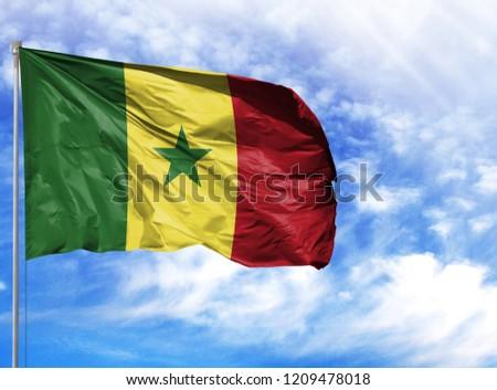 National flag of Senegal on a flagpole #1209478018