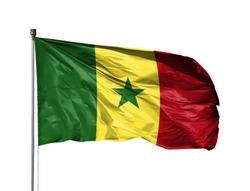 National flag of Senegal on a flagpole, isolated on white background