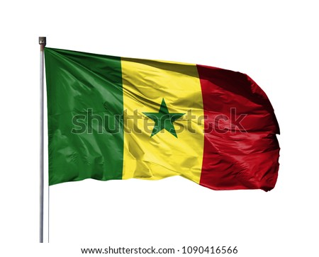 National flag of Senegal on a flagpole, isolated on white background #1090416566