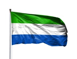 National flag of Sierra Leone on a flagpole, isolated on white background