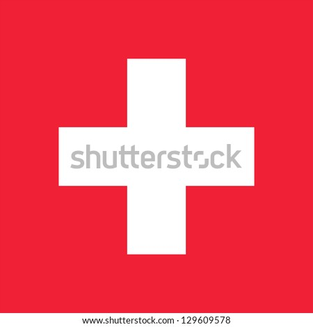 National flag of Switzerland. Complies to the Article 1 of Federal Order No 111 on the arms of the Helvetic Confederation (12 December 1889). Proper square shape and proper red color. Adopted in 1889.