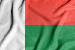National flag of the Madagascar. The main symbol of an independent country. Flag of Madagascar.
