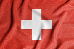 National flag of the Switzerland. The main symbol of an independent country. Flag of Switzerland. An attribute of the large size of a democratic state.