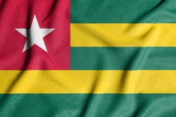 National flag of the Togo. The main symbol of an independent country. Flag of Togo. An attribute of the large size of a democratic state.