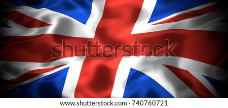 National flag of the United Kingdom of Great Britain and Northern Island panoramic 3D illustration #740760721