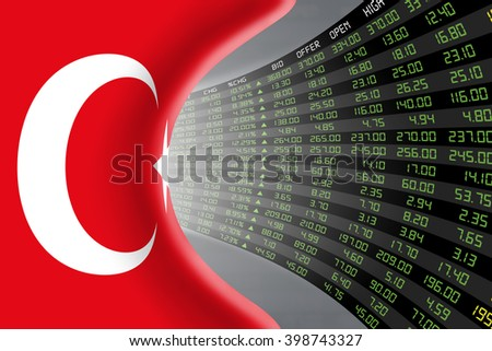 National flag of Turkey with a large display of daily stock market price and quotations during economic booming period. The fate and mystery of Ankara stock market, tunnel/corridor concept.