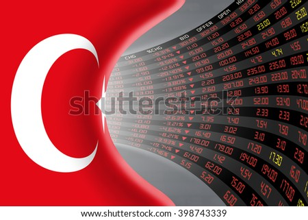 National flag of Turkey with a large display of daily stock market price and quotations during depressed economic period. The fate and mystery of Ankara stock market, tunnel/corridor concept.