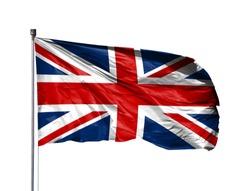National flag of United Kingdom on a flagpole, isolated on white background