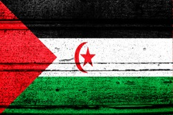 National flag of Western Sahara, abbreviated with eh; a realistic 3d image of the national symbol from an independent country painted on a wooden wall