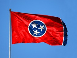 National flag State of Tennessee on a flagpole