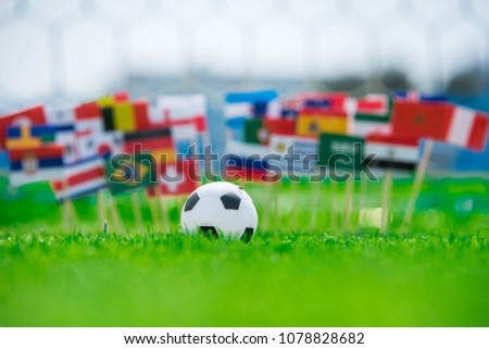 National Flags and football ball #1078828682
